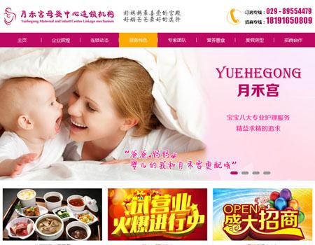 网站建设-月禾宫母婴中心连锁机构案例展示
